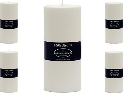 5 hochwertige dänische Stearin Stumpenkerzen von ASP, 5er Set 12 x 5,6 cm, weiß