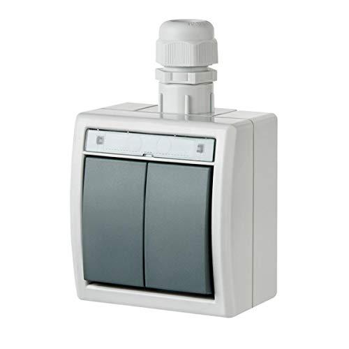 Naka24 Aufputz Schalter-Steckdosenprogramm Feuchtraum Schuko AQUANT (IP65 Doppelschalter 1202-65), Weiß