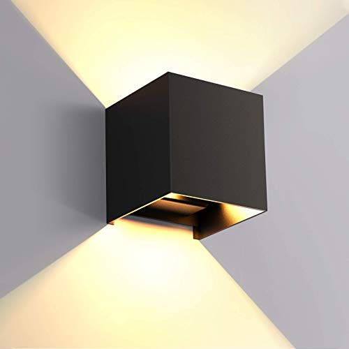 Lampada da parete LED 6W per Interni Esterno litwlds Applique da Parete Muro Moderna Up Down in alluminio per soggiorno, camera da letto, tromba delle scale, corridoio, giardino, bianco caldo(Nero 6W)