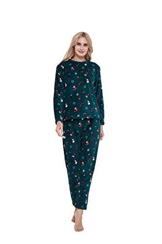 PimpamTex – Pijama Coralina de Mujer Otoño-Invierno de Manga Larga Polar Calentito con Tacto Suave – (L, Noel Verde)