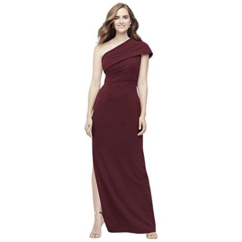 David's Bridal Ruched One-Shoulder Stretch Crepe Bridesmaid Dress Style AP2E205030, Cabernet, 0
