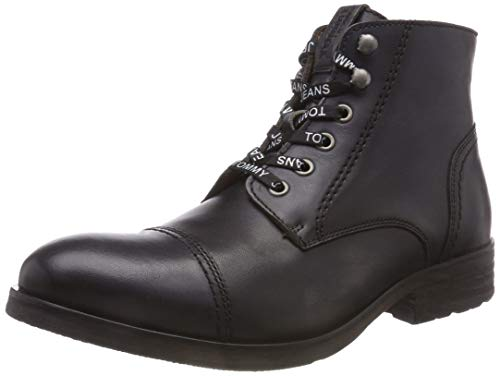 Tommy Jeans Herren Dressy Leather LACE UP Combat Boots, Braun (Dark Shadow 028), 43 EU