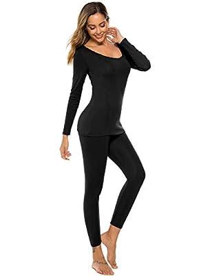 LOMON Womens Thermal Underwear Set Ultra Soft Top & Bottom Winer Warm Long Johns Black