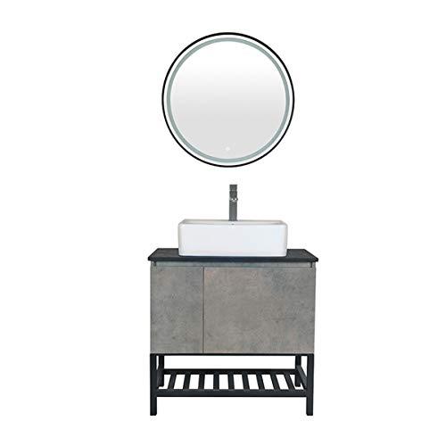 Armario de baño Combinación de Inodoro Lavabo de Lavado Cuenca Mueble Smart Round Mirror Fregadero Fregadero de cerámica con gabinete de Medicina. (Color : Gray, Size : 50x71x83cm)