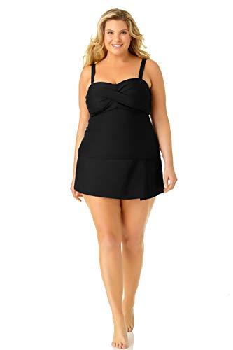 Catalina Women's Plus-Size Twist Front Bandeau Tankini Swimsuit, Black, 3X