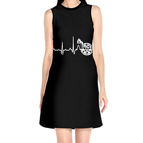 Pizza Heartbeat Women Dress Without Sleeve Summer Short Skirt White
