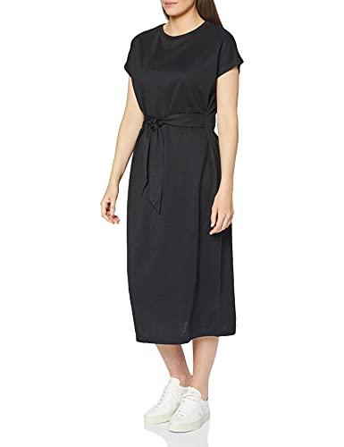 Marca Amazon - MERAKI Vestido Largo Cruzado Mujer, Negro (Bl