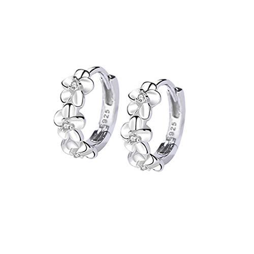Orecchini a cerchio da donna a forma di fiore con scintillanti zirconi cubici, piccoli orecchini cerchio huggie gioielli di moda per donne e ragazze