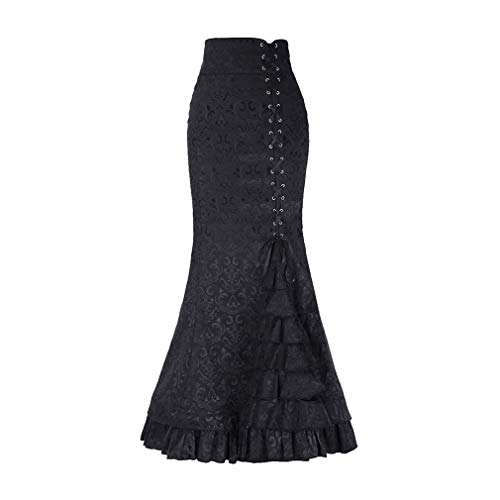 Women's Steampunk Vintage Retro Skirt Gothic A-Line Pencil Skirts Party Club Pleated Skirt Skirt for Women is a great collocation for tops and shoes. It is one of the essential clothes in your closet and the best choice for spring and autumn. Made of...