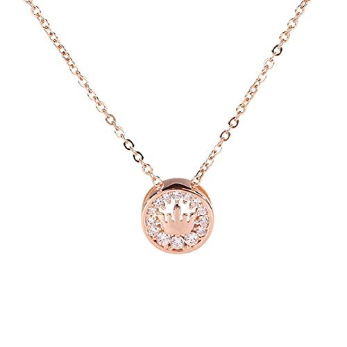 xu Collar de Oro Rosa con Corona de Plata s925 y Colgante de Diamantes Completo para Mujer