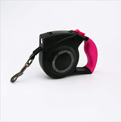 Hundeleine, Einziehbare Bis Zum 4 M Hundeleine LED Mit Button Break- Und Schließsystem Ideal Zum Wandern Geeignet Für Kleine Bis Große Hunde,Pink