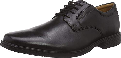 Clarks Herren Tilden Plain_Derby, Schwarz (Black Leather), 43 EU