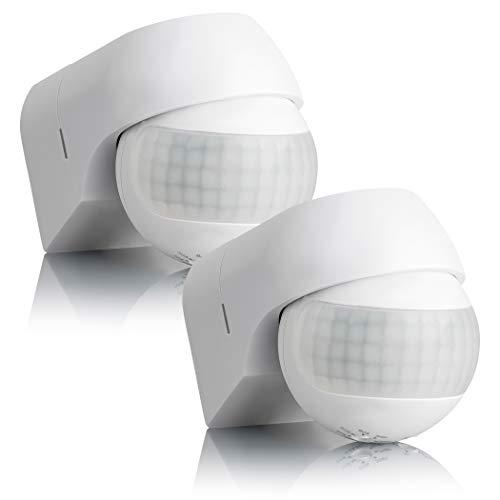 SEBSON® Bewegungsmelder Aussen IP44 Aufputz - 2er Set - Wand Montage, programmierbar, IR Sensor, Reichweite 12m / 180°, LED geeignet, schwenkbar, 3-Draht