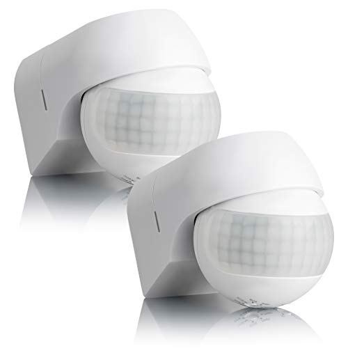 SEBSON® Bewegungsmelder Aussen IP44, Aufputz, Wand Montage, programmierbar, IR Sensor, Reichweite 12m / 180°, LED geeignet, schwenkbar, 2er Pack