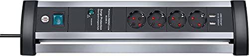 Brennenstuhl Alu-Office-Line Steckdosenleiste 4-fach mit Schalter und Überspannungsschutz...