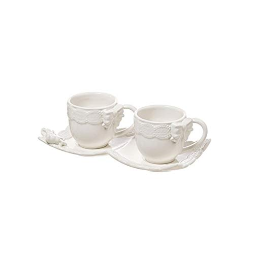 L'ARTE DI NACCHI Juego 2 tazas de café con bandeja cerámica blanca 70 ml KF-36
