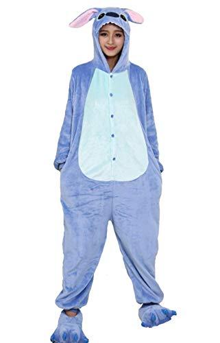 Pijama Kigurumi - Confeccionado en una pieza - Ideal incluso como disfraz de animal para carnaval, Halloween, fiestas cosplay, suave y cómodo de usar Stitch azul. Small