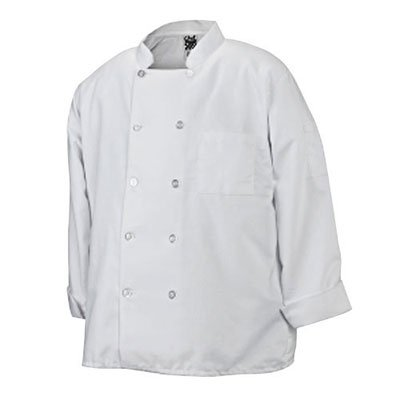 Chef Revival J100 24/7 Poly Cotton Blend Long Sleeve Basic Jacket with Clear Pearl Bottons, Large, White