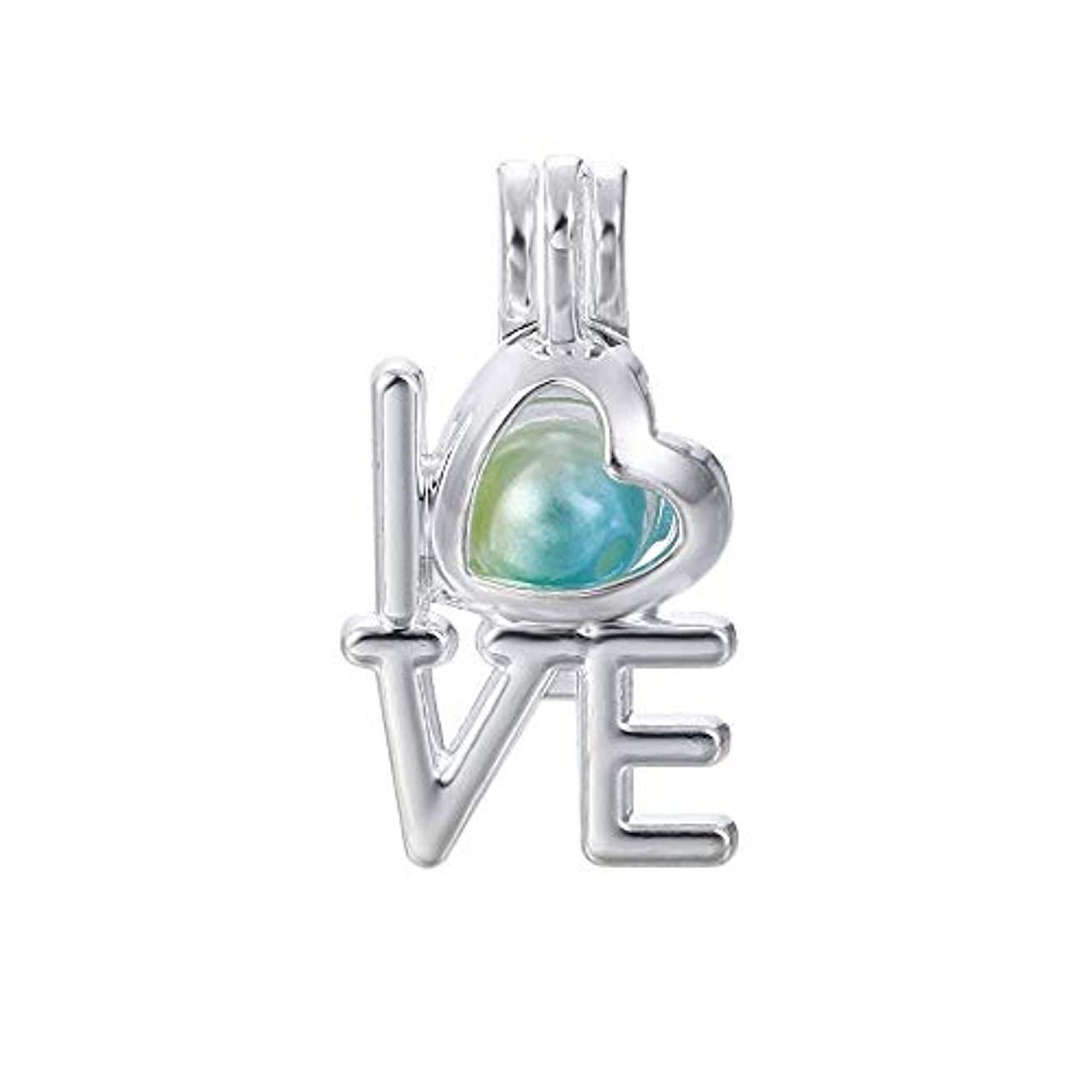 10pcs Silver Love Heart Pearl Beads Cage Locket Pendants Jewelry Making-for Oyster Pearls, Essential Oil Diffuser, Fun Gifts (Love Heart)