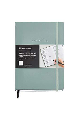 Miquelrius - Cuaderno bonito de notas, cubierta rígida de papel vinílico, tamaño A5 148 x 210 mm, 192 páginas punteadas Dots de 100 g/m², color verde