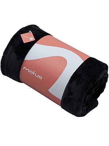 mofua(モフア)毛布 プレミアムマイクロファイバー Heatwarm発熱 +2℃ タイプ 1年間品質保証 ダブル ブラック 60100310