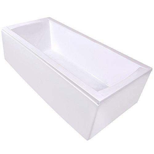 AQUADE Badewanne Komplett-Set inkl. Untergestell, Ab-Überlauf und Schürzen-Set 200x90 200 x 90 cm Modell: Bremen + Ab-Überlauf mit Zulauf und Mischer und Brause