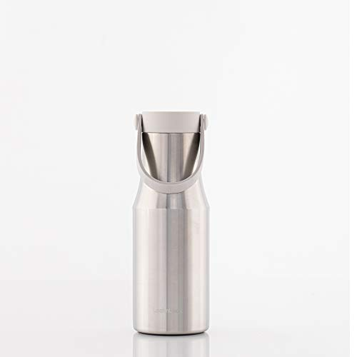 LocknLock Metro Tumbler Single Cap Bottle w/Hand Strap Stainless Steel Double Wall Vacuum Insulated Travel Mug for Cold Drinks and Hot Beverages, 16oz, Brushed Aluminum