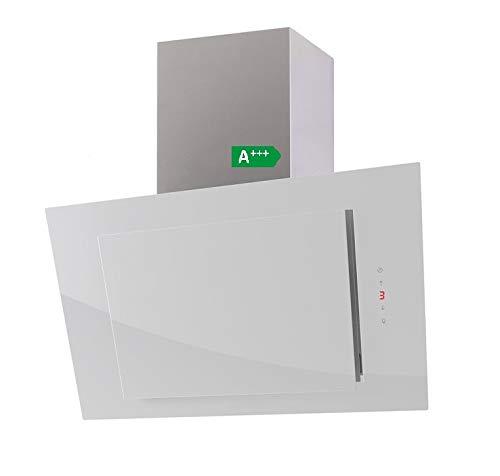 ALLCATA THALISSA Kopffreie Dunstabzugshaube Glas 6 Leistungsstufen mit Nachlaufautomatik LED-Beleuchtung 44 dB(A) bis 900 m³/h (weiß/white, 80 cm)
