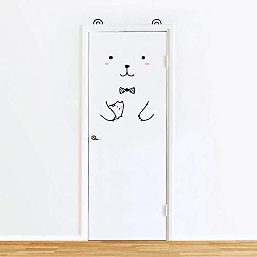 N/A Dieren-muursticker Panda konijntje voor kinderkamer, deur, huisdecoratie, zelfklevend, koelkast, afneembaar, kunstdruk, 80 x 200 cm