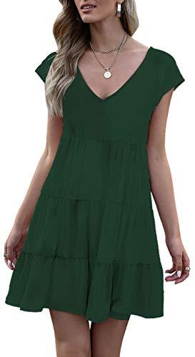 ETCYY Women Casual Tshirt Dresses Summer V Neck Flowy Swing Shift Dress Pure Green
