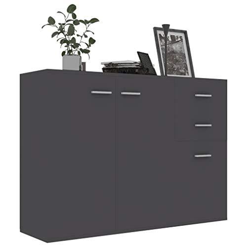 pedkit Sideboard mit 2Türen und 3 Schubladen Highboard Kommode Standschrank Mehrzweckschrank Grau 105 x 30 x 75 cm Spanplatte