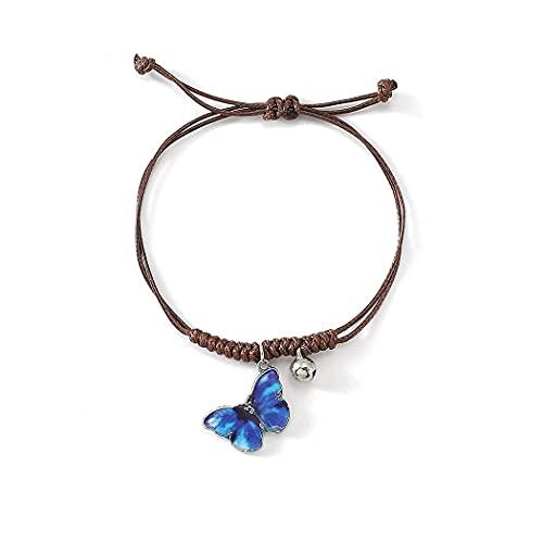 Branets Pulsera de mariposa azul con cadena trenzada para mujeres y niñas