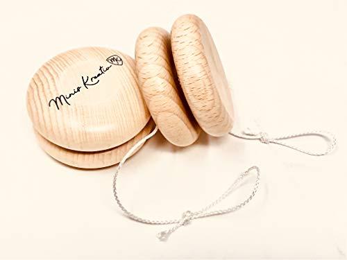 Minis Kreativ JoJo Holz Doppelpack für Kinder Naturbelassen | Jonglier Set | 2 STK JoJo groß ø 6 cm | Förderung Motorik Koordination|Sparset NEU Geschenk Kinder | Mädchen | Jungen | Jo-Jo | Natur