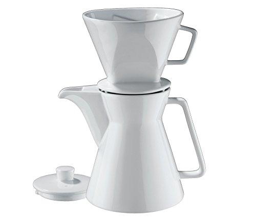 Cilio Kaffeekanne Vienna 1L inklusiv Filter Gr.4, Porzellan, weiß, 18 x 14 x 18 cm