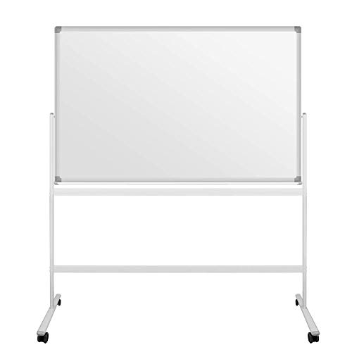 S SIENOC Mobile Whiteboard Magnetwand mit Alurahmen Magnetisch Whiteboard und Magnettafel Weiß lackiert WhiteBoard + Ständer Einstellbar drehbar (120x90cm)