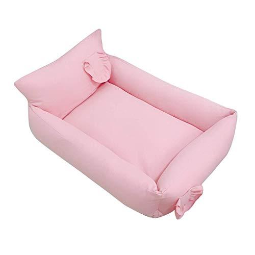 JIANGAA Hundebett versteckte Reißverzögerung Haustierbett für mittelgroße Hunde Rechteck abnehmbare Katze Bettbedarf für Indoor warm atmungsaktiv Anti-rutscher untere Haustierkissen grau-pink s