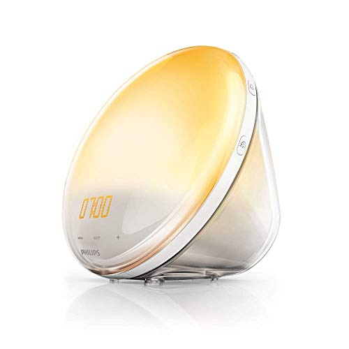 Philips Wake-up Light HF3520/01 Despertador de Luz, Radio FM, 5 Sonidos Naturales, Alarma, sin Cargador móvil, 800 W, Blanco