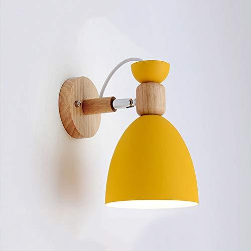 MJZHJD Macaron la lámpara de Pared de Hierro Forjado de Madera lámparas de iluminación 3-8 Metros Cuadrados Salón Dormitorio Estudio Luz de Pared