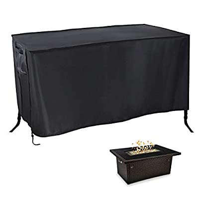 POMER Fire Pit Cover Rectangular 42x24x24inch - Waterproof Fabric Outdoor Fireplace Cover for Propane Gas Fire Table