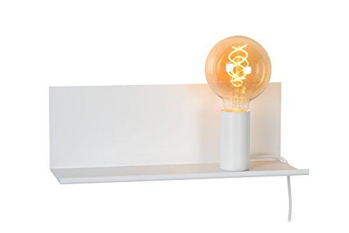 Lucide 06218/01/31 Sebo Lampe de Chevet, Métal, E27, 40 W, Blanc, 35 x 12 x 12 cm