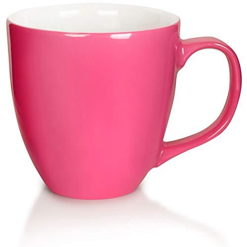 Mahlwerck XXL Jumbotasse, Große Porzellan-Kaffeetasse mit hoch-glänzender Oberfläche, in Pink, 450ml
