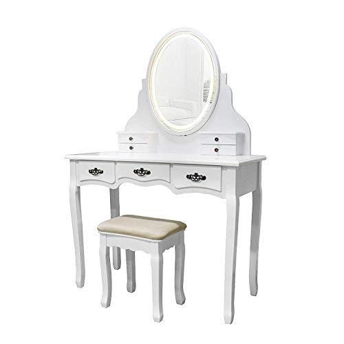 YOUKE Coiffeuse Ovale à Un Miroir avec Lumière LED Et Port USB, 7 Tiroirs, Tabouret Rembourré pour Fille Et Femme, Blanc