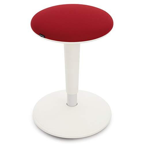 COMIFORT Sgabello Hanoi con altezza regolabile, girevole a 360°, base curva, seduta imbottita e rivestita in tessuto. Sgabello rotondo multifunzione per casa, lavoro o bar. Colore: bianco-rosso.