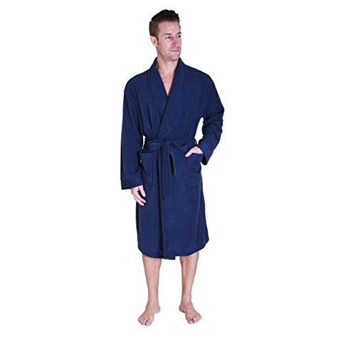 Cherokee Men Cozy Plush Robe Navy Medium
