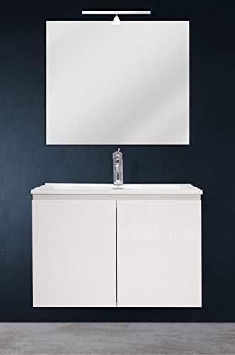 OrionShop Mobile Bagno Sospeso Ariete da 70cm Bianco con Lavabo Specchio e Lampada LED Inclusi