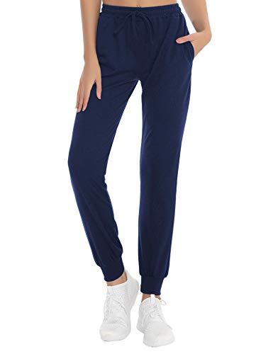NewPI Pantaloni da jogging da donna, pantaloni in cotone, casual, per yoga, pantaloni casual a righe, pantaloni da allenamento a vita alta, pantaloni lunghi da allenamento, blu, S