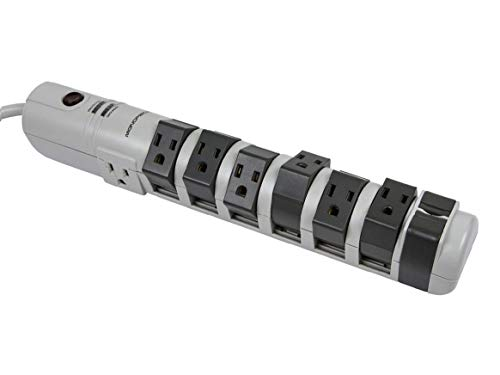 Monoprice 8 Outlet Rotating Surge Strip -Grey | UL Rated 2, 160 Joules...