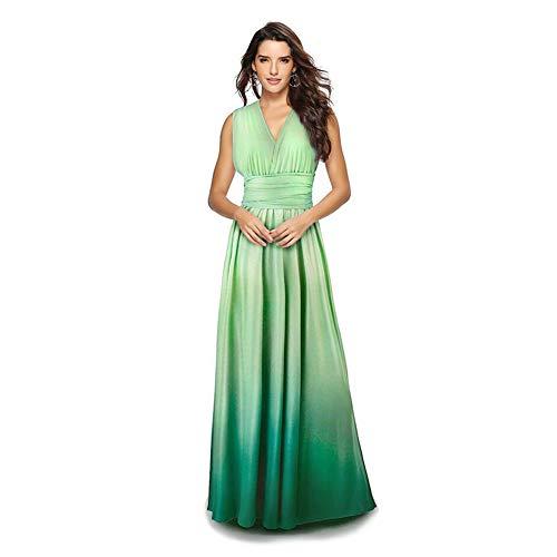 Langes Maxikleid für Damen, schulterfrei, sexy, für Hochzeit, Brautjungfer, Abendkleid, bodenlang, für Abschlussball und Abendveranstaltungen Gr. Small, Grüner Farbverlauf