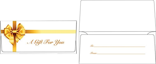 Currency Envelopes (2 7/8 x 6 1/2) - Gold Bow (50 Qty.) | Perfect The Holidays, Birthdays, Graduations, Company Bonuses, Gifts, Money and More! | CUR-99-50