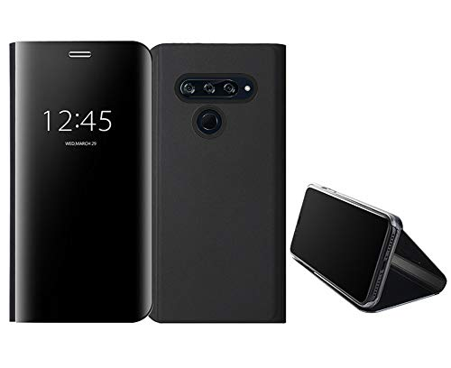 Cover per LG V40 ThinQ, custodia per LG V40 ThinQ, trasparente, a portafoglio, a specchio, in pelle PU, con supporto magnetico, blu
